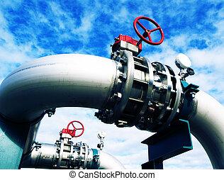 acier, bleu, industriel, canalisations, ciel, contre, zone, valves