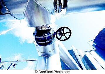 acier, bleu, industriel, canalisations, zone, tonalités