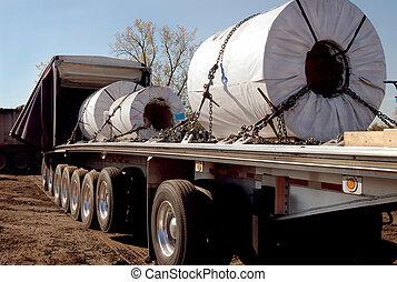 acier, bobines, camionnage