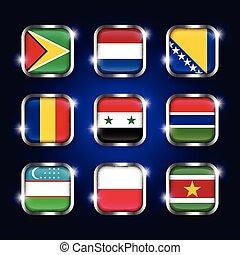 acier, boutons, roumanie, ensemble, syrie, bosnie, scintillement, ), (, pologne, herzégovine, gambie, quadrangulaire, ouzbékistan, verre, pays-bas, drapeaux, suriname, guyane, mondiale, frontière