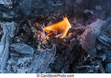 acier, brûler, baril, flamme, déchets