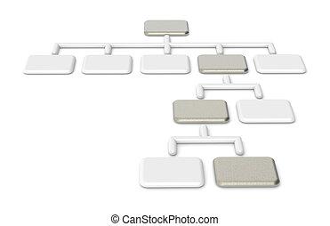 acier, brossé, organisation, diagramme