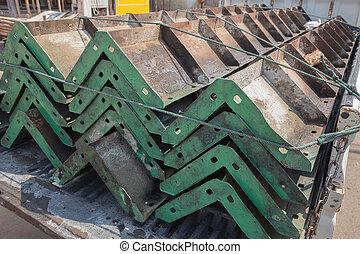 acier, cadre, site construction, colonnes