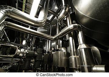 acier, canalisations, industriel, zone, échelles, valves