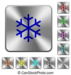 acier, carrée, arrondi, boutons, unique, flocon de neige