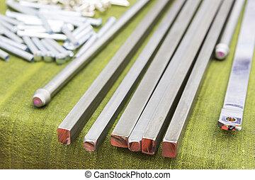 acier, carrée, tige, parties, fabrication
