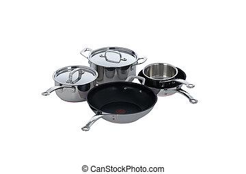 acier, casseroles, sans tache, pots, isolé, blanc