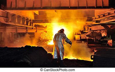 acier, chaud, ouvrier