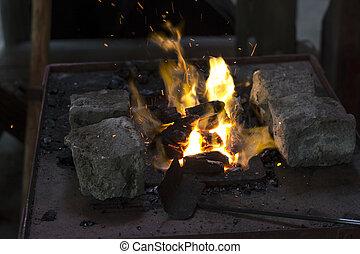 acier, chauffage, morceaux