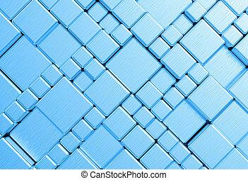acier, cliché bleu, métal, texture, maille, fond, ou