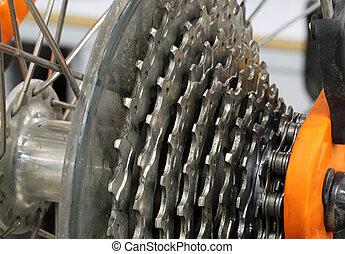 acier, cogset, vélo courir, sports