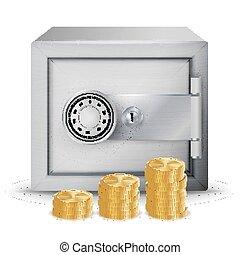 acier, concept, sûr, illustration., reussite, signe, symbole argent, sûr, métal, isolé, espèces, billets banque, banque, icônes, vector., pièces, sécurité, piles, finance