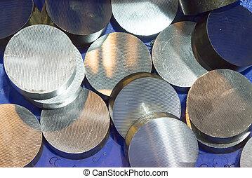 acier, cru, manufacturing., matériel, tige