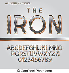 acier, cuivre, chiffre, vecteur, alphabet