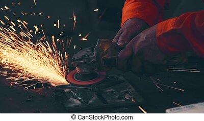 acier, découpage, metal., mécanicien, professionnel