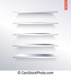 acier, ensemble, étagères, mur, métal, isolé, vecteur, fond, ou