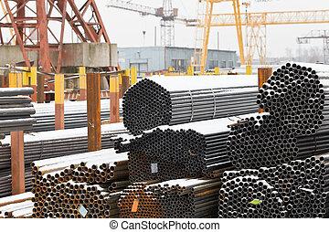 acier, entrepôt, canaux transmission, extérieur, stockage