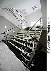 acier, escalier, rampe