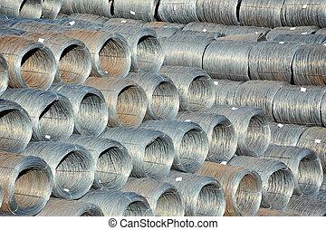 acier, fil, empilé, rouleau, expédition, prêt, port