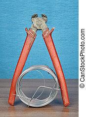 acier, fin, plastique, poignées, rouges, pinces, wire., coupeur