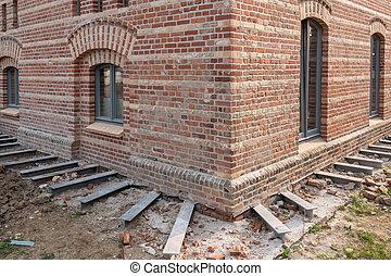 acier, fondation, soutenu, colonnes, maison