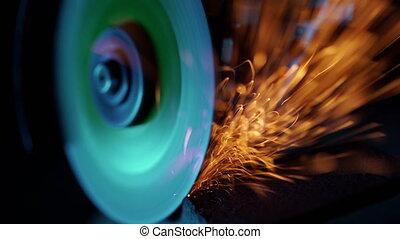 acier, gros plan, industriel, wheel., étincelles, equipment...