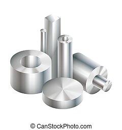 acier, groupe, objets, métal, forger