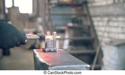 acier, -, haut, forgeron, gants, mains, forge, fin, marques...