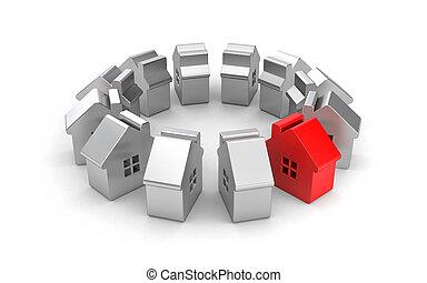acier, illustration, une, maisons, figures, red., 3d