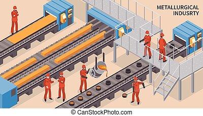 acier, industrie, isométrique