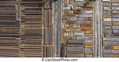 acier, industriel, elements., stockage, above., endroit, vue