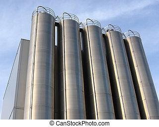 acier, industriel, silo