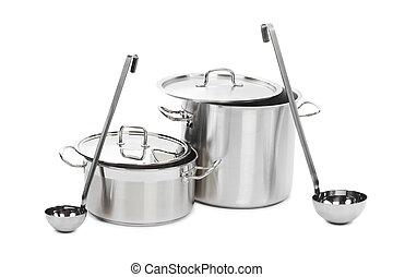 acier, laddles, pots, deux