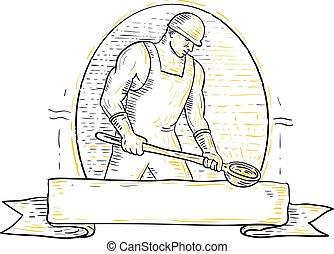 acier, louche, fonderie, ouvrier, miono, ligne