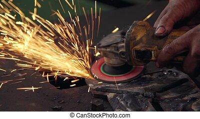 acier, mécanicien, professionnel, metal., découpage