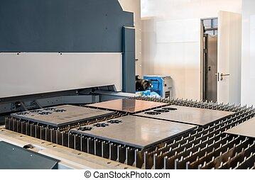 acier, machine, découpage, usine