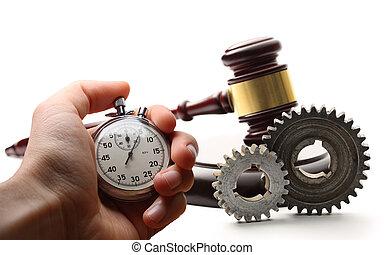 acier, main bois, marteau, chronomètre, roues dentées