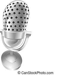 acier, microphone, radio, retro