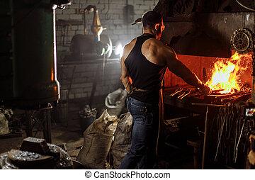 acier, morceau, forgeron, température, fournaise, travail, chaud, jeune, quoique, chauffage