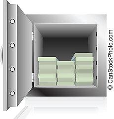 acier, ouvert, paquets, notes, sûr, dollar, rempli