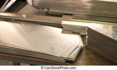 acier, parts., pile, mince