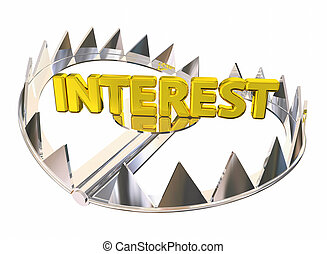 acier, payant, attrapé, ours, élevé, illustration, intérêt, honoraires, 3d, piège