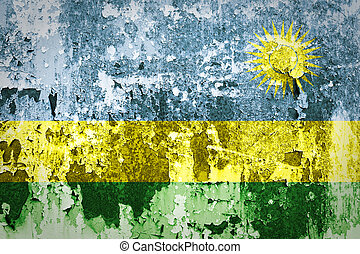acier, peint, drapeau, rwanda, mur