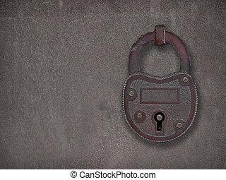 acier, plaque, rouillé, cadenas