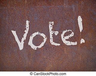 acier, plaque, rouillé, vote, signe