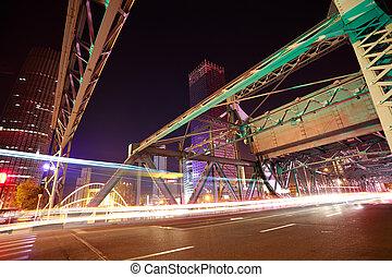 acier, pont, historique, nuit