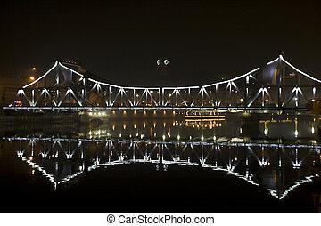 acier, pont, soir