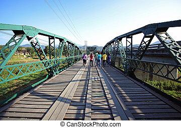 acier, pont, vieilli, vieux, bois