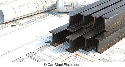 acier, projet, arrière-plan., modèles, 3d, illustration, pile, rayons