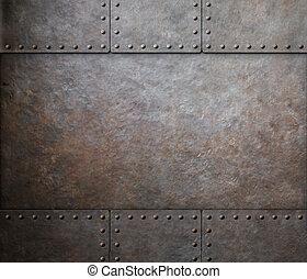 acier, punk, métal, texture, rivets, fond, vapeur, rouille